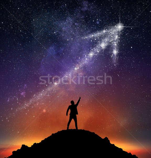 Star flèche affaires montagne étoiles homme Photo stock © alphaspirit