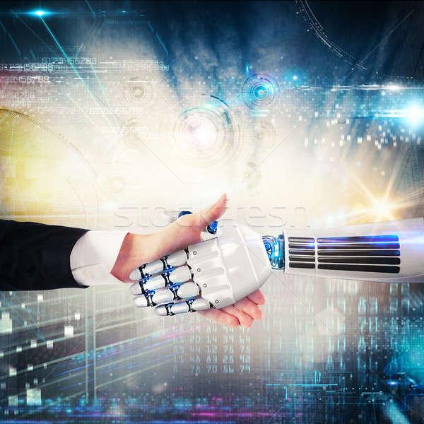 Handshake between human and robot. 3D Rendering Stock photo © alphaspirit