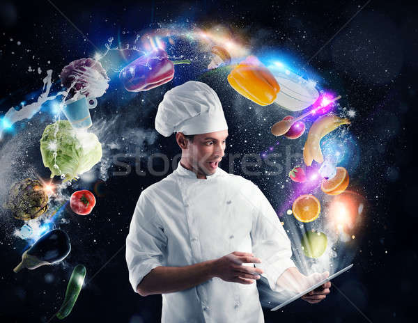 Cooking recipe from tablet Stock photo © alphaspirit