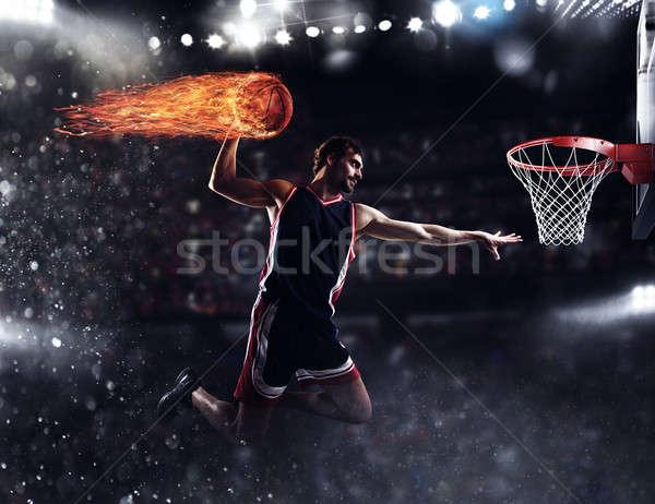 Mand speler vuurbol stadion vol brand Stockfoto © alphaspirit