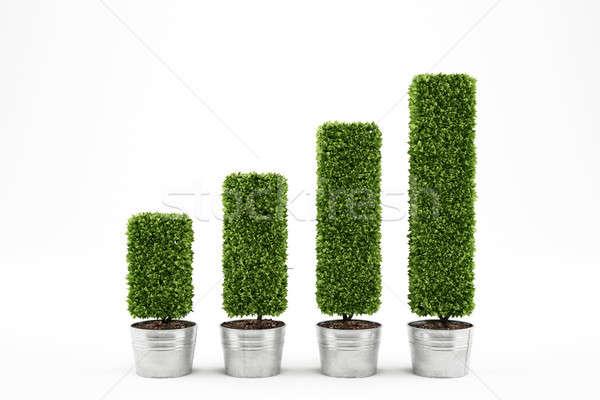 Groeiend economie 3D planten statistisch Stockfoto © alphaspirit
