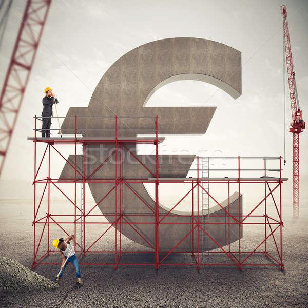 Euro gazdaság 3D renderelt kép állványzat fal Stock fotó © alphaspirit