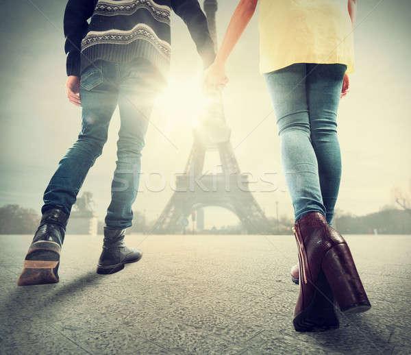 Couple amour Paris ensemble femme vacances Photo stock © alphaspirit