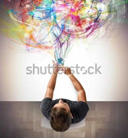 Dance with colored pigments Stock photo © alphaspirit