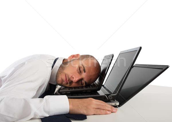 Yorgunluk stres ofis işadamı uyku bilgisayarlar Stok fotoğraf © alphaspirit