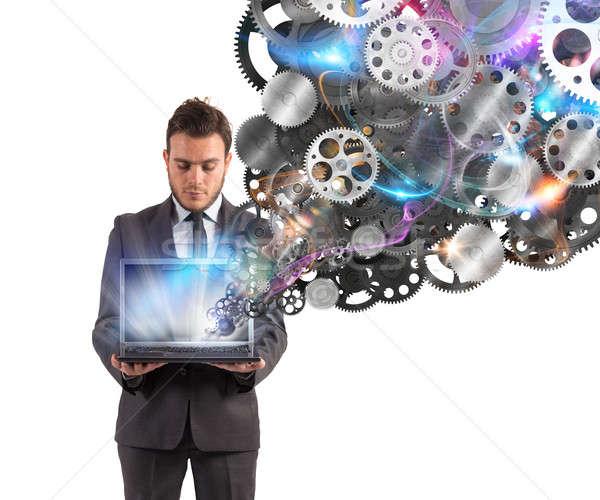 Mekanizma iş web işadamı dizüstü bilgisayar dişliler Stok fotoğraf © alphaspirit