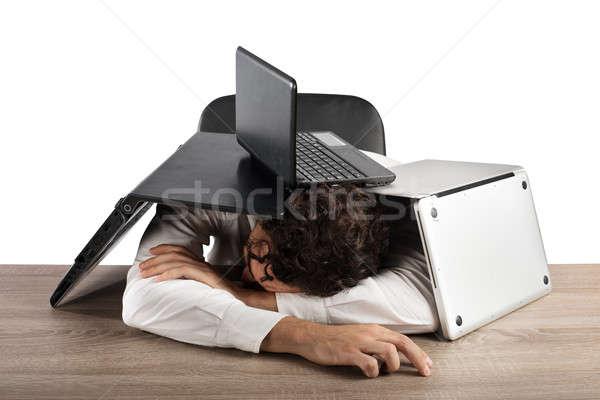 Yorgunluk stres ofis yorgun işadamı uyku Stok fotoğraf © alphaspirit