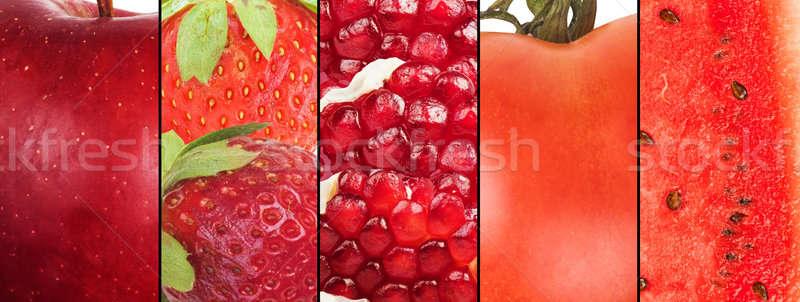 Foto stock: Rojo · frutas · collage · frutas · hortalizas · alimentos · saludables