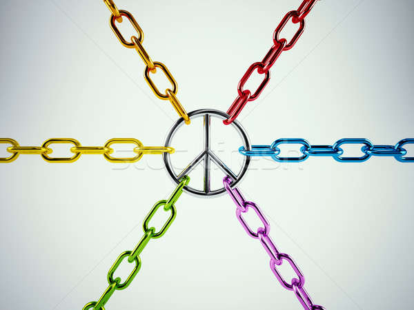 3D мира цепями символ любви Сток-фото © alphaspirit