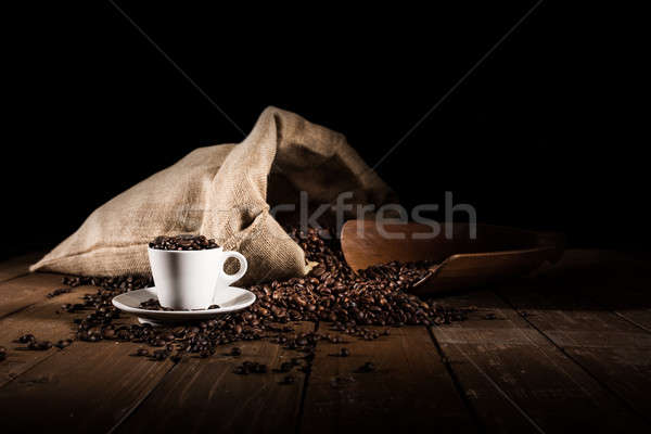Stock photo: Background of cup of coffee beans