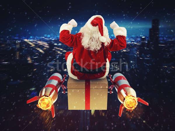 Szybko stanie christmas prezenty Święty mikołaj szkatułce Zdjęcia stock © alphaspirit
