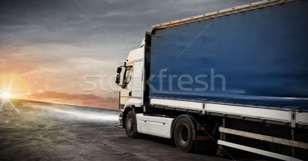 Fast truck transport delivers packages Stock photo © alphaspirit