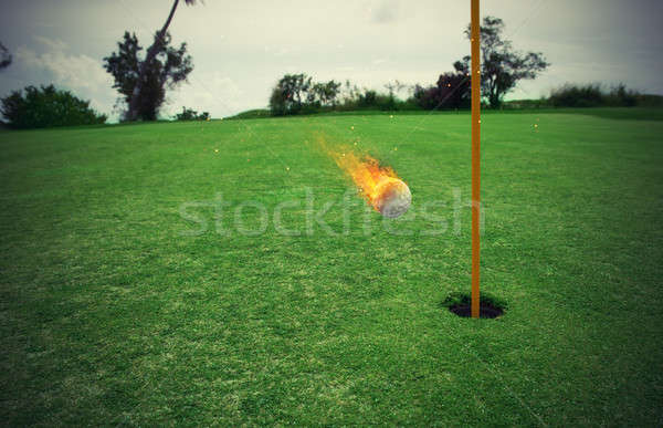 Tüzes golflabda lyuk fűmező zöld fű mező Stock fotó © alphaspirit