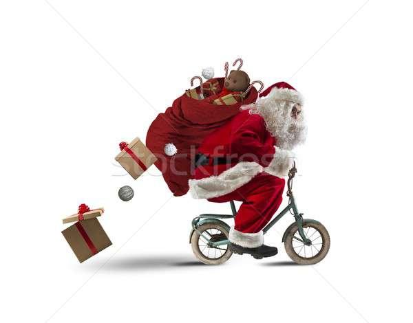 Rower prezenty mały ulicy zimą zabawy Zdjęcia stock © alphaspirit