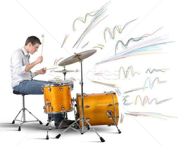 Drummer producing notes Stock photo © alphaspirit