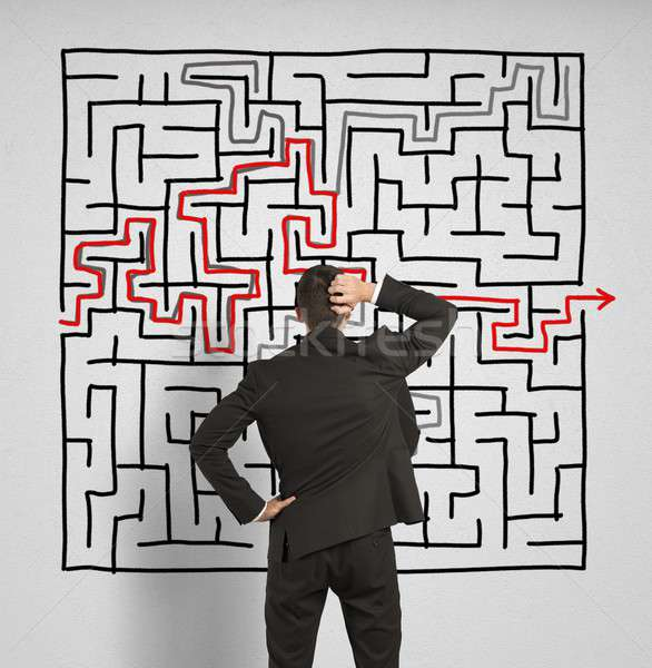 Verward zakenman oplossing labyrint groot werk Stockfoto © alphaspirit