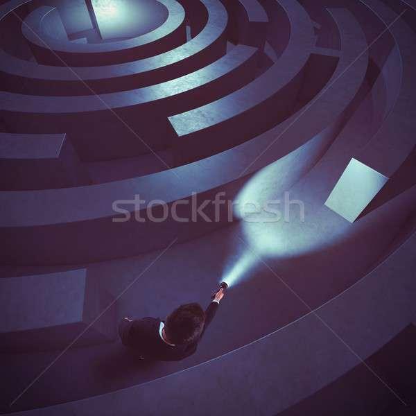 находить решения человека темно лабиринт Сток-фото © alphaspirit