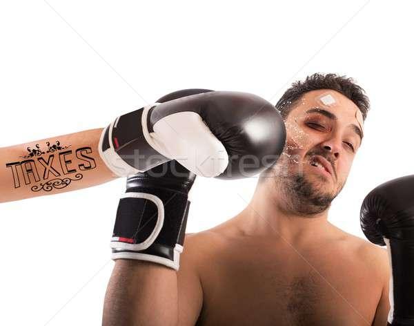 Boxeador tatuaje trabajador lucha dolor Foto stock © alphaspirit