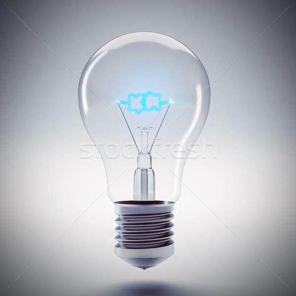 Rompecabezas bombilla luz 3D palabra Foto stock © alphaspirit