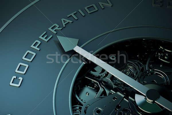 3D cooperação bússola seta indicação Foto stock © alphaspirit