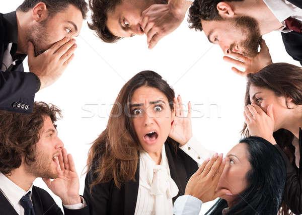 Pettegolezzi molti persone ragazza scioccato ascolto Foto d'archivio © alphaspirit