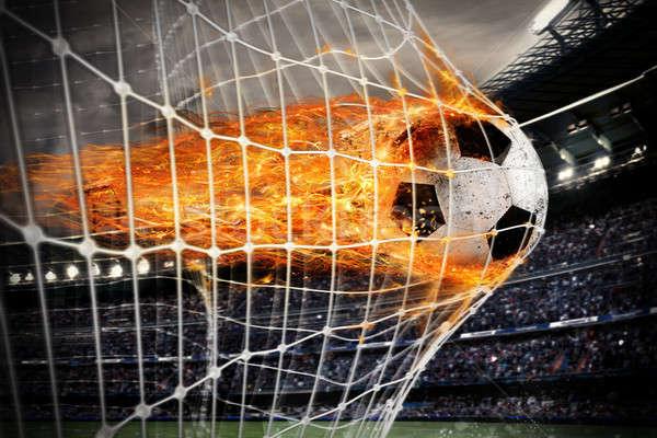 Futebol fireball meta com profissional folhas Foto stock © alphaspirit
