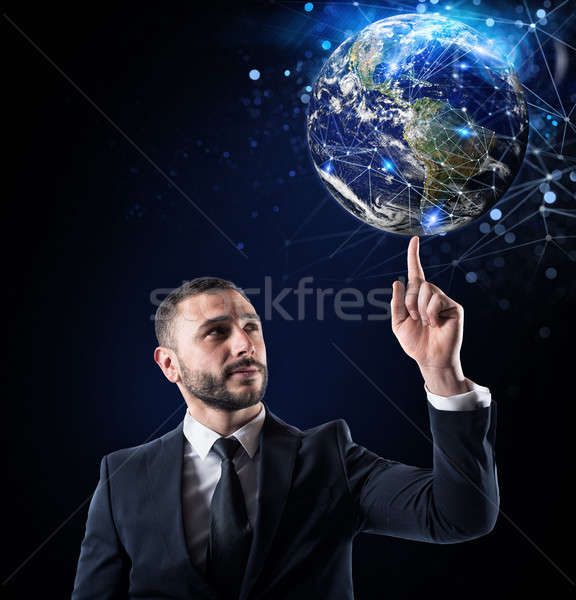 Global internet connection concept. World provided by NASA Stock photo © alphaspirit