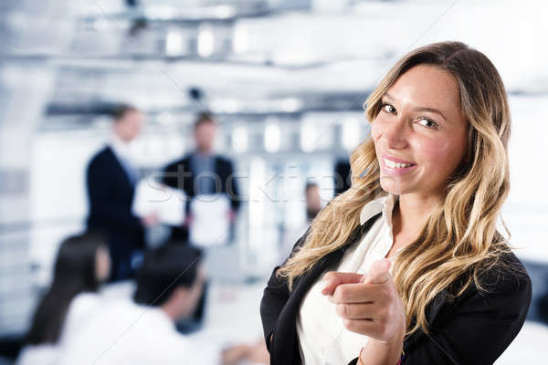 Businesswoman that indicates on the camera. Concept of people recruitment Stock photo © alphaspirit