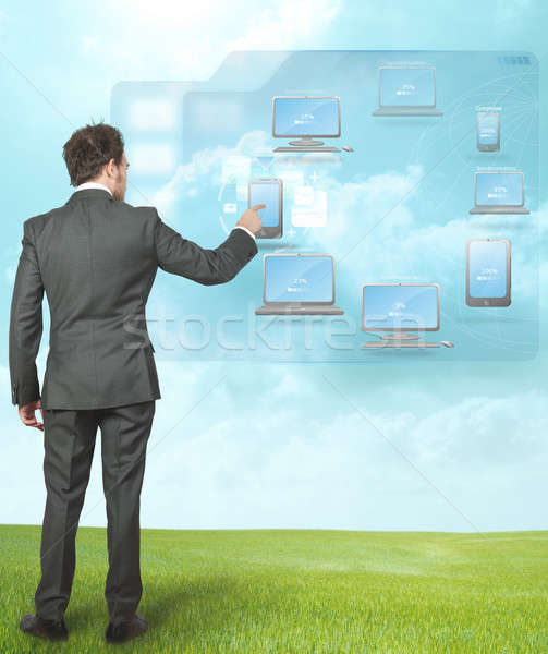 Businessman working with cloud compute Stock photo © alphaspirit