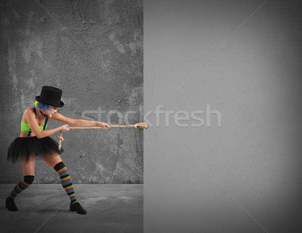 Clown billboard szary ściany liny projektu Zdjęcia stock © alphaspirit