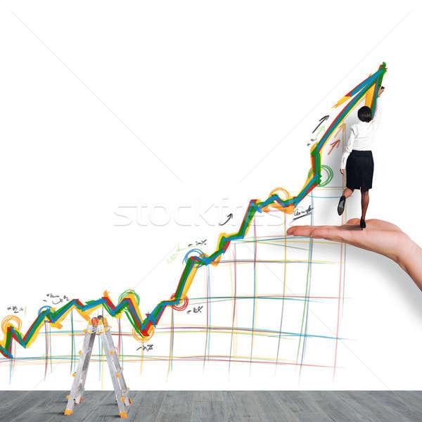 Affaires flèche femme main travaux affaires Photo stock © alphaspirit