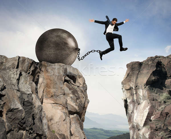 Businessman overcomes obstacles Stock photo © alphaspirit