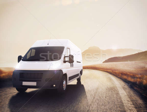 Transport camion 3D route naturelles Photo stock © alphaspirit