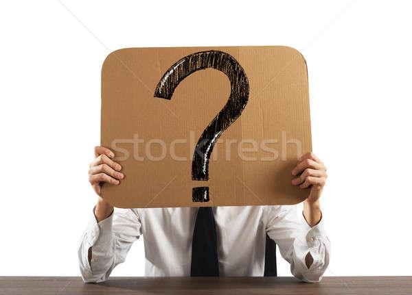 вопросительный бизнесмен служба картона большой вопросительный знак Сток-фото © alphaspirit