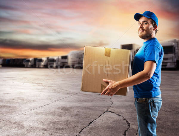 Courier ready to deliver packages with truck Stock photo © alphaspirit