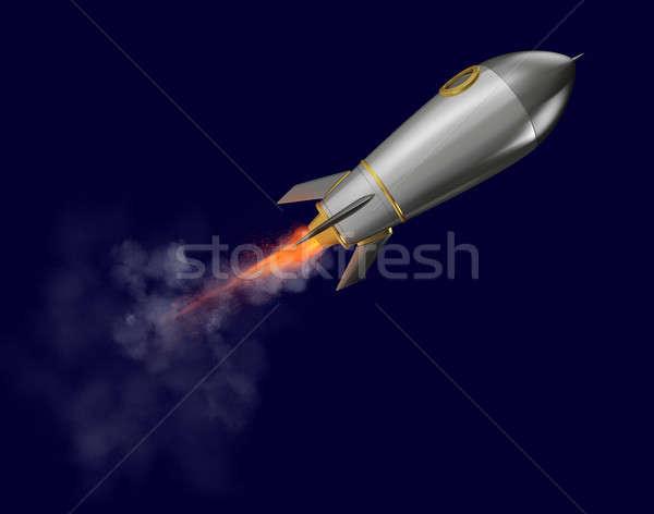 Rocket that fly fast. 3d rendering Stock photo © alphaspirit