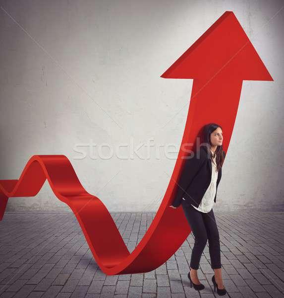 Imprenditrice statistiche monete ragazza mercato successo Foto d'archivio © alphaspirit