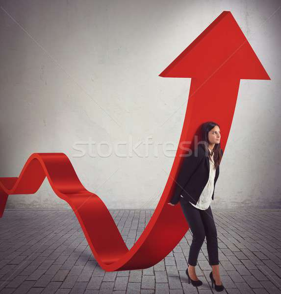 Zakenvrouw statistiek munten meisje markt succes Stockfoto © alphaspirit