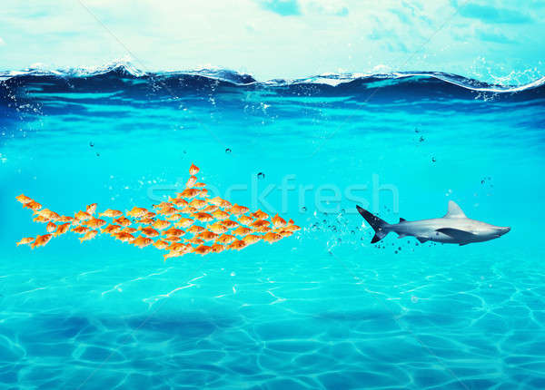 Big shark made of goldfishes attack a real shark. Concept of unity is strength, teamwork and partner Stock photo © alphaspirit