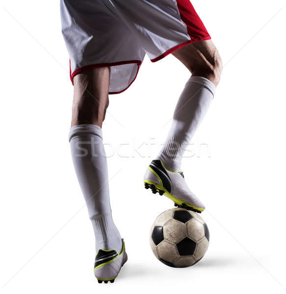 Soccer player with soccerball ready to play. Isolated on white background Stock photo © alphaspirit