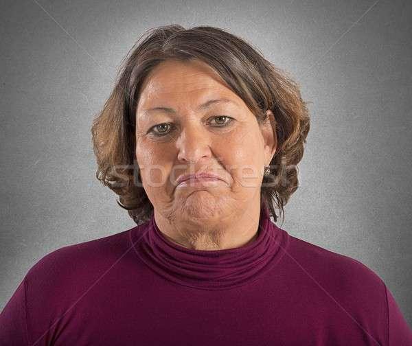 Sad fat woman Stock photo © alphaspirit