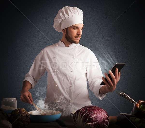 Recipes on the tablet Stock photo © alphaspirit