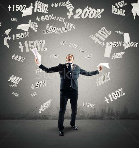 Percentage winst geslaagd zakenman aantal man Stockfoto © alphaspirit