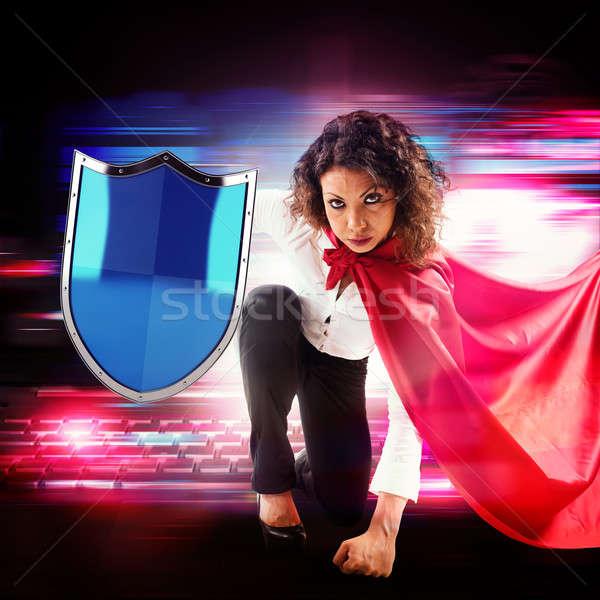 Antivirus superhero Stock photo © alphaspirit