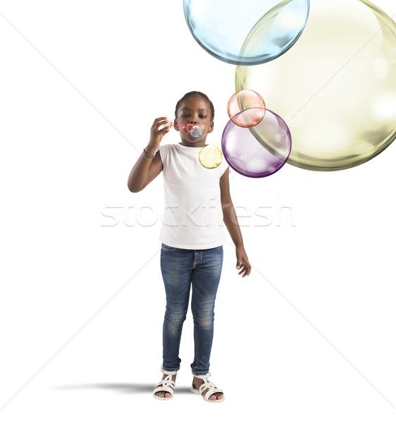 Colourful soap bubbles Stock photo © alphaspirit