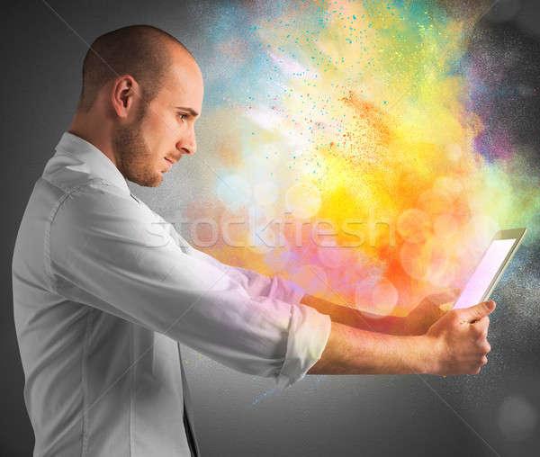 Tablet Farbe Burst hellen farbenreich Business Stock foto © alphaspirit