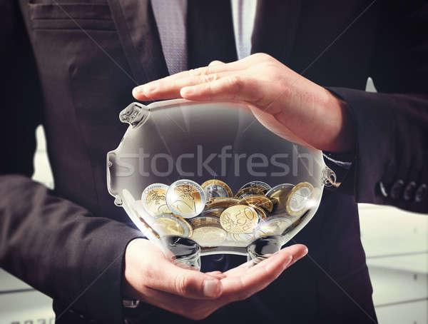 Biztosíték kereset férfi átlátszó persely érmék Stock fotó © alphaspirit