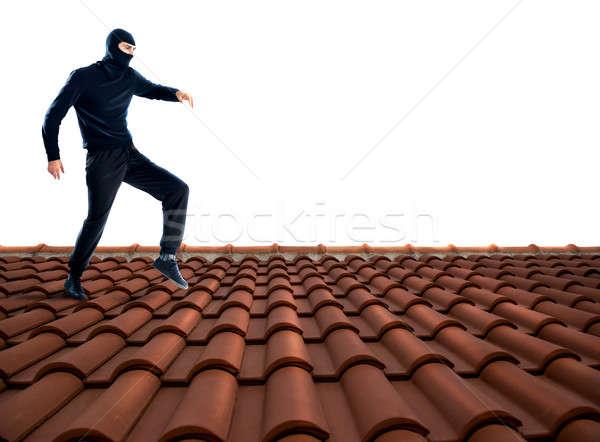 泥棒 屋根 黒 徒歩 家 男 ストックフォト © alphaspirit