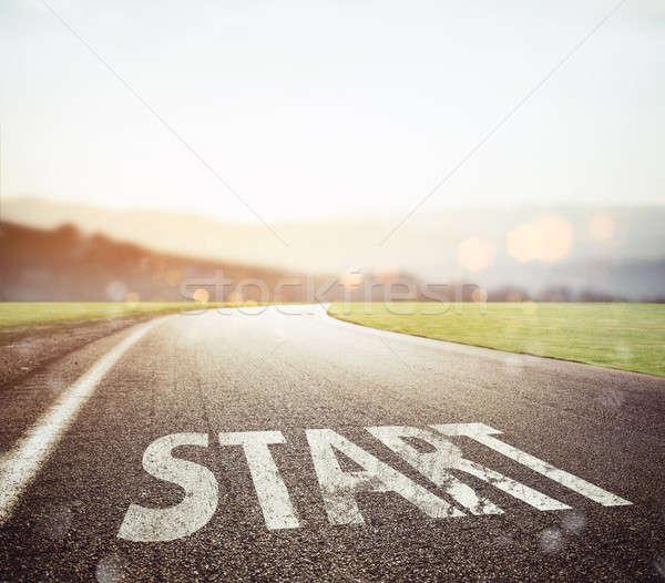начала написанный землю дороги закат асфальт Сток-фото © alphaspirit