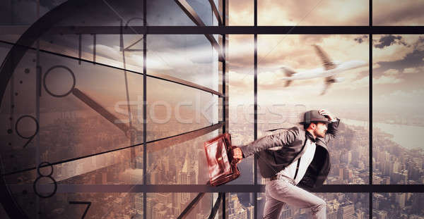 Businessman late runs quickly to work appointment Stock photo © alphaspirit